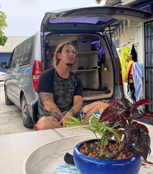 Diving instructor Jesus Maduro, co-owner of Aruba Bob Snorkeling, talks to Reuters, in San Nicolas.