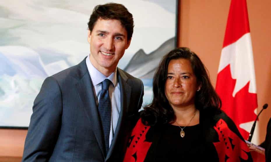 Jody Wilson-Raybould and Justin Trudeau in Ottawa, Ontario, Canada on 14 January.