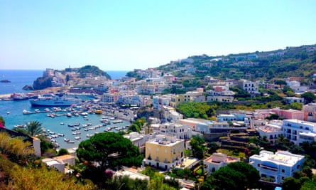 Aerial view of Ponza village and harbour, one of Italy's Pontine Islands, off the coast of Naples and Rome