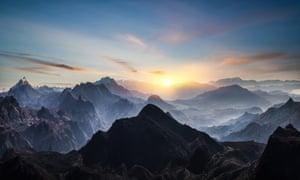 Misty Himalayan peaks