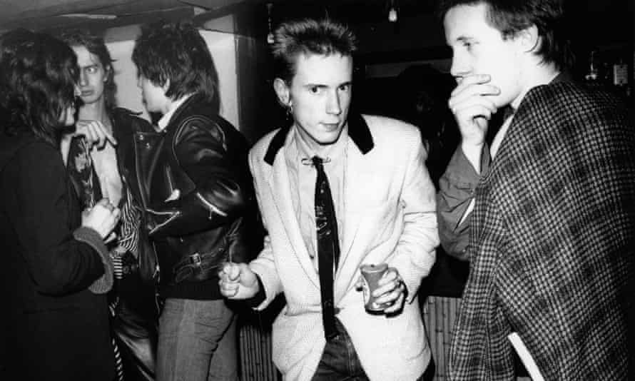 Nick Kent, second from left, in the Roxy Club with Johnny Rotten of the Sex Pistols.
