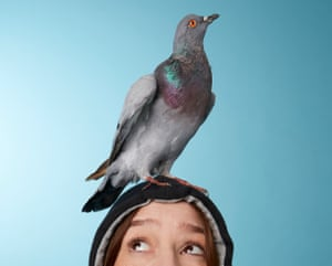 Zoe Williams with pigeon on her head