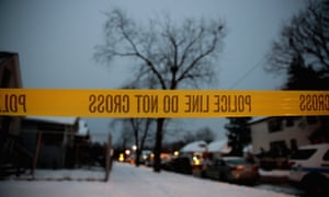 Police investigate the scene of a homicide in Chicago.