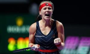 Kiki Bertens celebrates her victory.