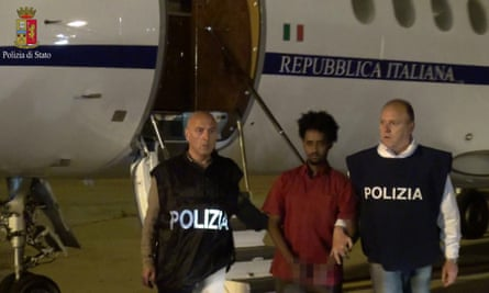 The man presented as Medhanie Yehdego Mered after extradition from Sudan to Italy in June 6.