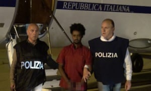 Italian police and prisoner