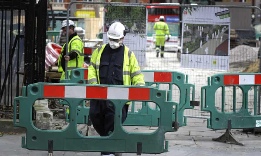 Construction workers in London during the lockdown.