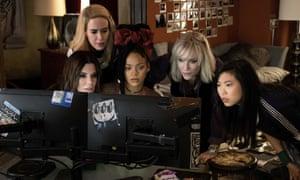 From left: Sandra Bullock Sarah Paulson, Rihanna, Cate Blanchett and Awkwafina in Ocean's 8.