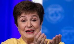 IMF Managing Director Kristalina Georgieva speaks at a press briefing in Washington, DC, on March 4, 2020.
