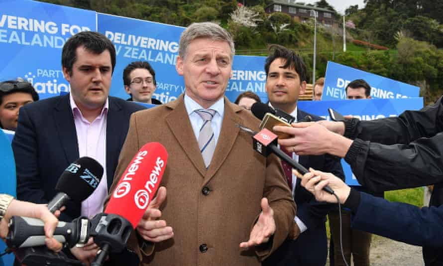 New Zealand Prime Minister Bill English speaks to the media during a National Party campaign stop in Wellington.