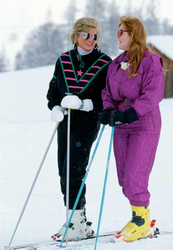Diana, Princess of Wales and Sarah Ferguson on a skiing holiday.
