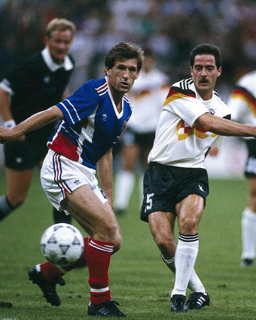Uwe Bein (right) in action during West Germany's 4-1 win over Yugoslavia at Italia 90