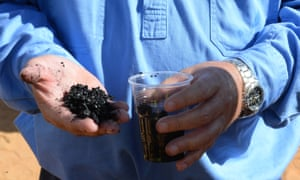 Coal fragments from a coal seam gas well rig in the Pilliga forest which is part of Santos's Narrabri gas project.