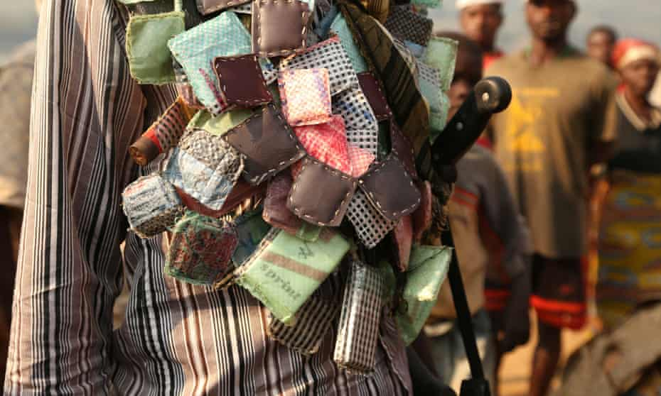 An Anti-balaka soldier wears lucky charms around his neck in Ouengo district, 7th arrondissement, in Bangui.