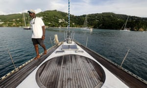 Captain Nolan on the Octopus, getting ready to sail for Tobago Cays.