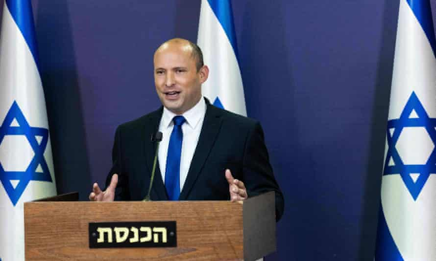 Naftali Bennett, leader of the Yamina party, speaking in the Knesset, Jerusalem, May 2021