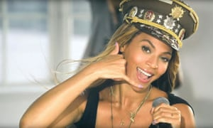 Beyoncé wearing a peaked cap in the video for 'Love On Top'.
