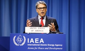 US Energy Secretary Rick Perry speaking during the International Atomic Energy Agency 63rd General Conference at the IAEA headquarters in Vienna, Austria, today.