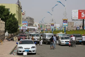 Cars queue to get fuel in Sana'a. People sometimes have to wait for two or three days, or even longer, to get petrol in the city. The naval embargo has stopped most of the commercial shipping, depriving the country of critical imports, such as fuel and food