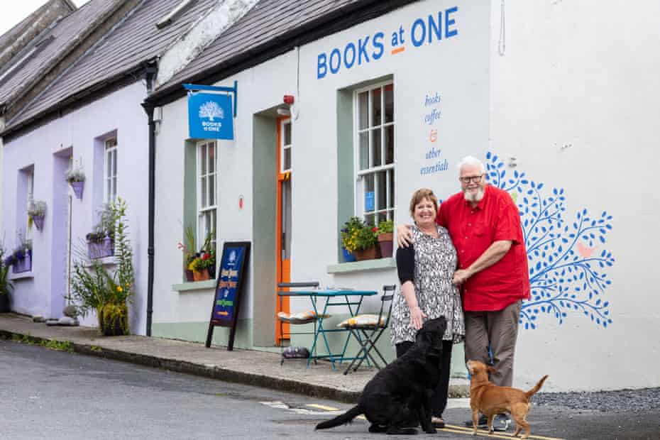 Mary Ruddy and Vincent Murphy outside their shop, Books at One in Letterfrack, County Galway.