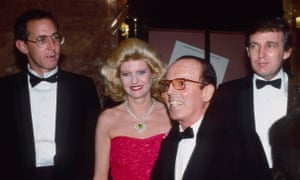 Tony Schwartz, left, and Donald Trump, right, attend the book party for The Art of the Deal at Trump Tower on 12 December 1987 in New York City.