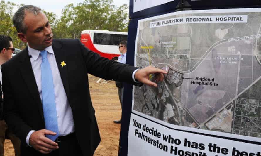 Northern Territory chief minister Adam Giles on the site of the proposed Palmerston hospital in Darwin in 2013.