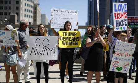 Anti-Trump demonstrators outside the Detroit Economic Club.