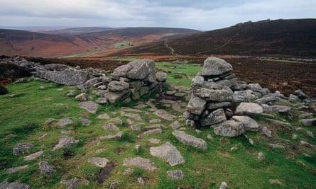 Remains of a bronze age village at Grimspound on Dartmoor in Devon