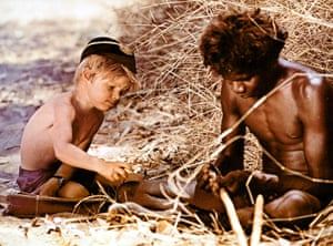 Luc Roeg learns bushcraft with David Gulpilil's character.