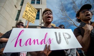 Protesters march for Stephon Clark on the day of his funeral in downtown Sacramento. The bill was prompted by his death.
