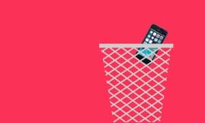 Smartphone in a bin