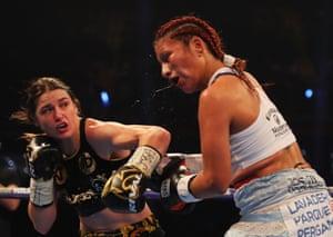 Katie Taylor lands a big left on Anahi Sanchez.