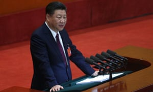 Chinese president Xi Jinping delivering his speech.