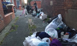 Bags of rubbish left on the street in Fallowfield, Manchester, an area of high student numbers.