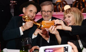 Mark Rylance, Steven Spielberg and Kate Capshaw after the Oscars, February 2016.