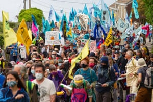 """Extinction Rebellion activists taking part in the """"Sound The Alarm"""" march during the G7 summit in Cornwall today."""