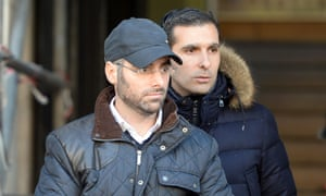 Benjamin Amsellem (left), a Jewish teacher, leaves Marseille police headquarters