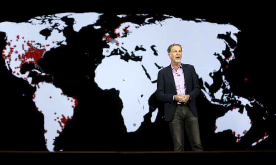 Netflix chief executive Reed Hastings announces its expansion plans at the CES trade show in Las Vegas