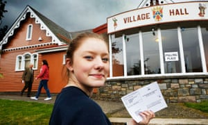 First time voter 16-year-old Rebecca Wells voting at Braemar in September 2014.