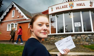 A 16-year-old goes to cast her ballot in the Scottish independence referendum in 2014