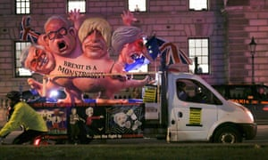 "And this truly horrible float, which bears the slogan ""Brexit is a monstrosity""."