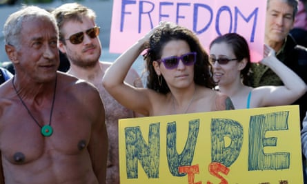 Demonstrators in San Francisco protest against a proposed city-wide nudity ban in 2012.