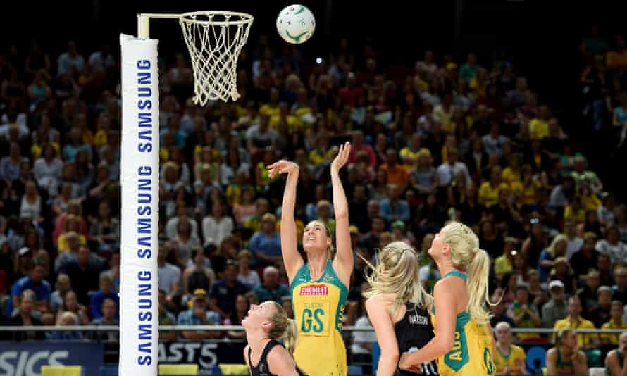 Caitlin Bassett takes a shot at goal during game 1 of the Constellation Cup