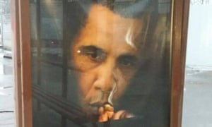 The Obama smoking advert that appeared on Moscow bus shelters.