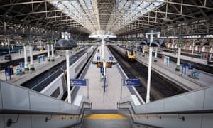 Manchester Piccadilly train station during Monday morning rush hour, 23 March 2020.