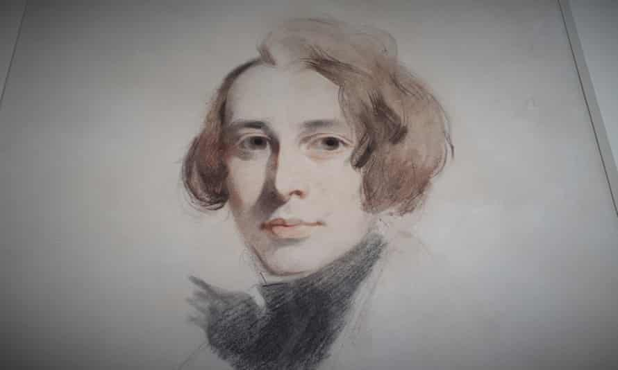 Unfinished drawing of Charles Dickens in chalk and pastels by Samuel Laurence.