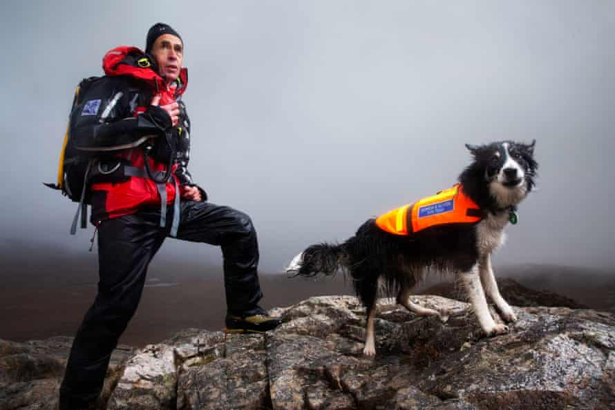 Paramedic and mountain rescue team member Steven Worsely and his search dog, Rona.