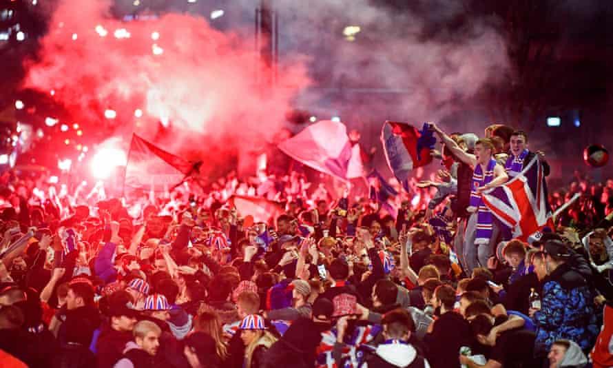 Rangers fans celebrate in Glasgow.