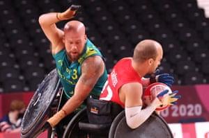 Australia's Ryley Batt in action with Denmark's Mikkel Schoettel.