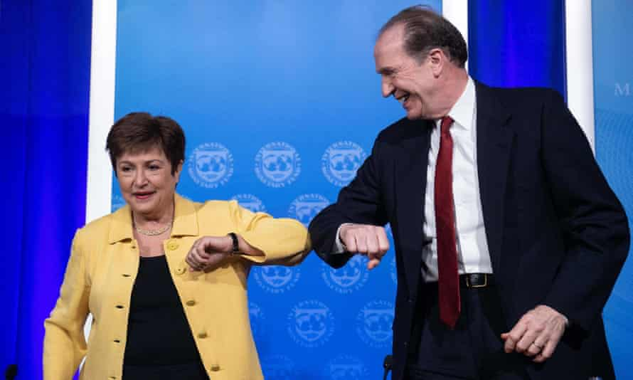 The IMF managing director, Kristalina Georgieva, and World Bank president, David Malpass, at a joint press briefing in Washington